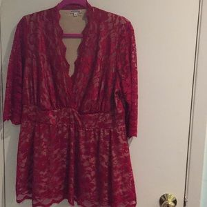 Tops - Red lace blouse - Offers Welcome!